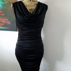 Express Ruched Draped Black dress